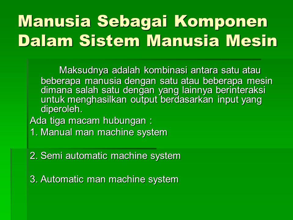 Manusia Sebagai Komponen Dalam Sistem Manusia Mesin
