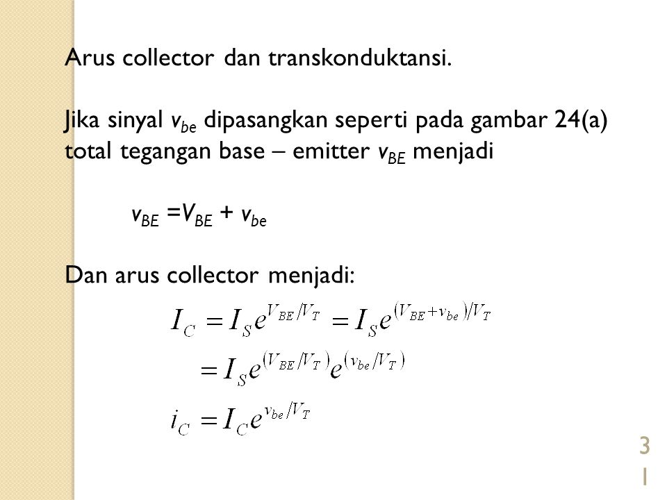 Arus collector dan transkonduktansi.