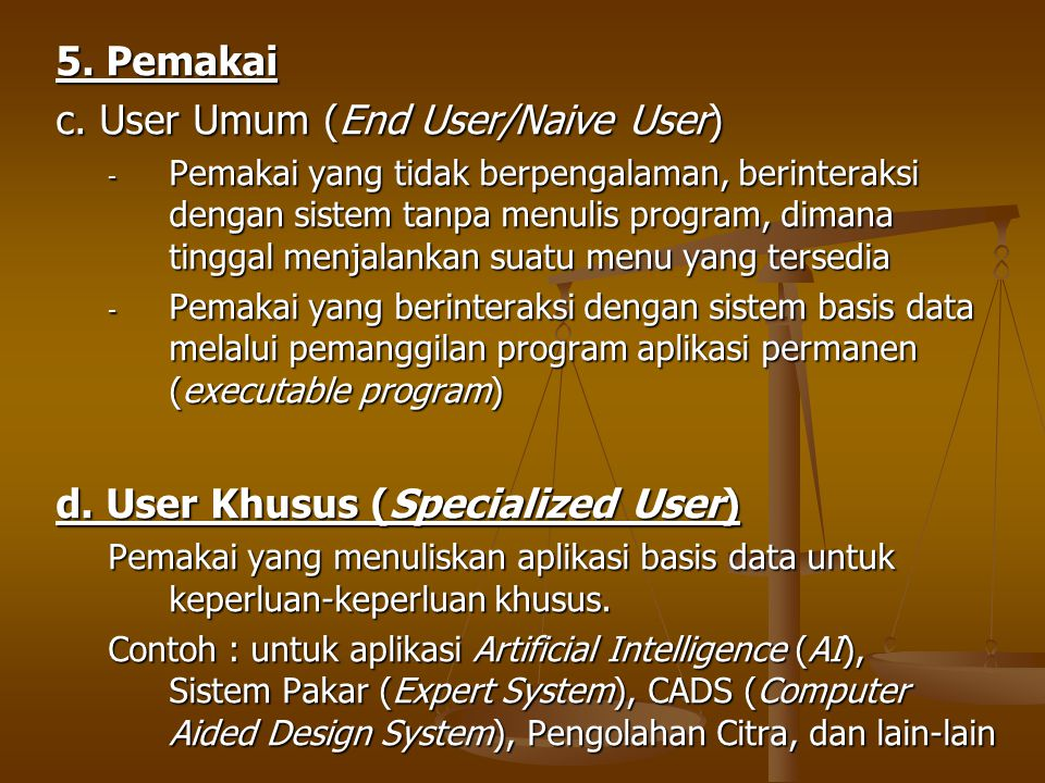 c. User Umum (End User/Naive User)