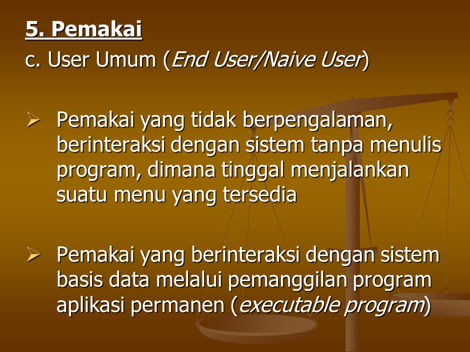 5. Pemakai c. User Umum (End User/Naive User)