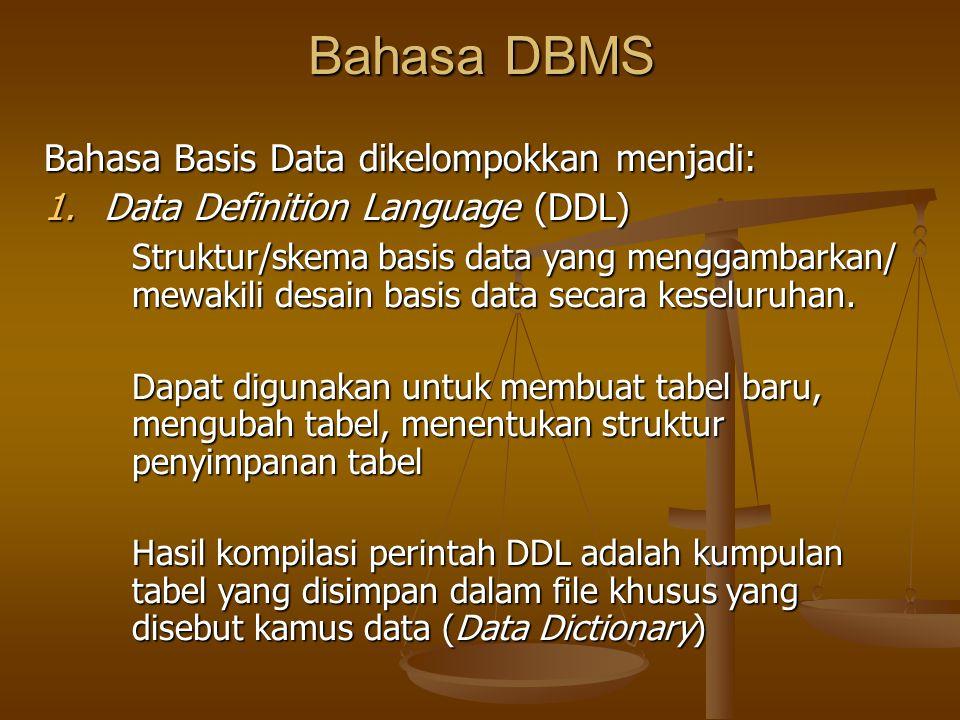 Bahasa DBMS Bahasa Basis Data dikelompokkan menjadi: