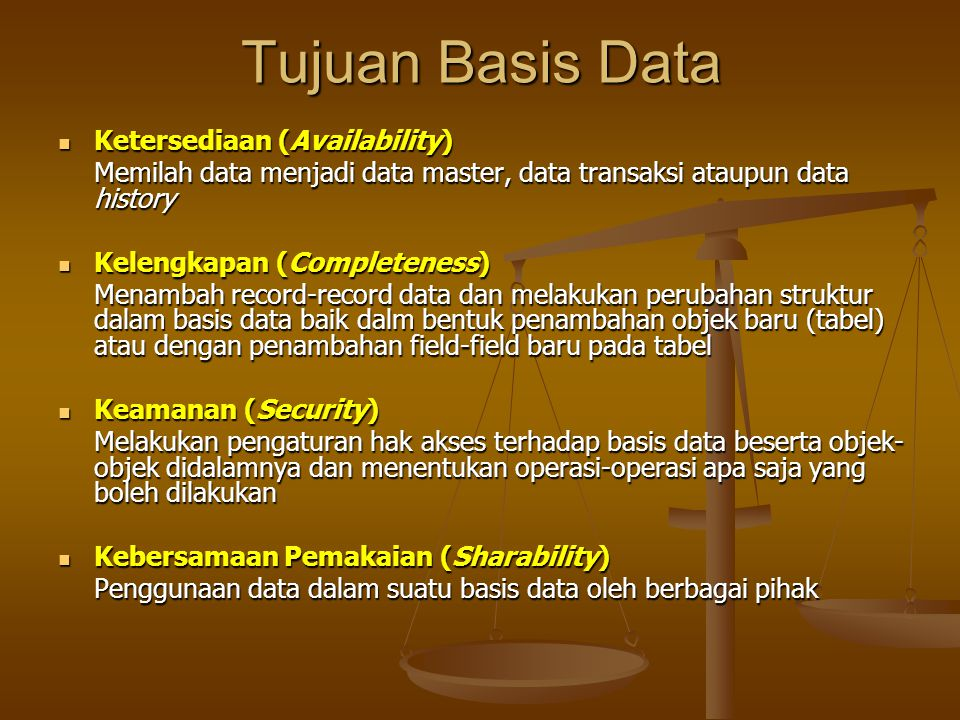 Tujuan Basis Data Ketersediaan (Availability)