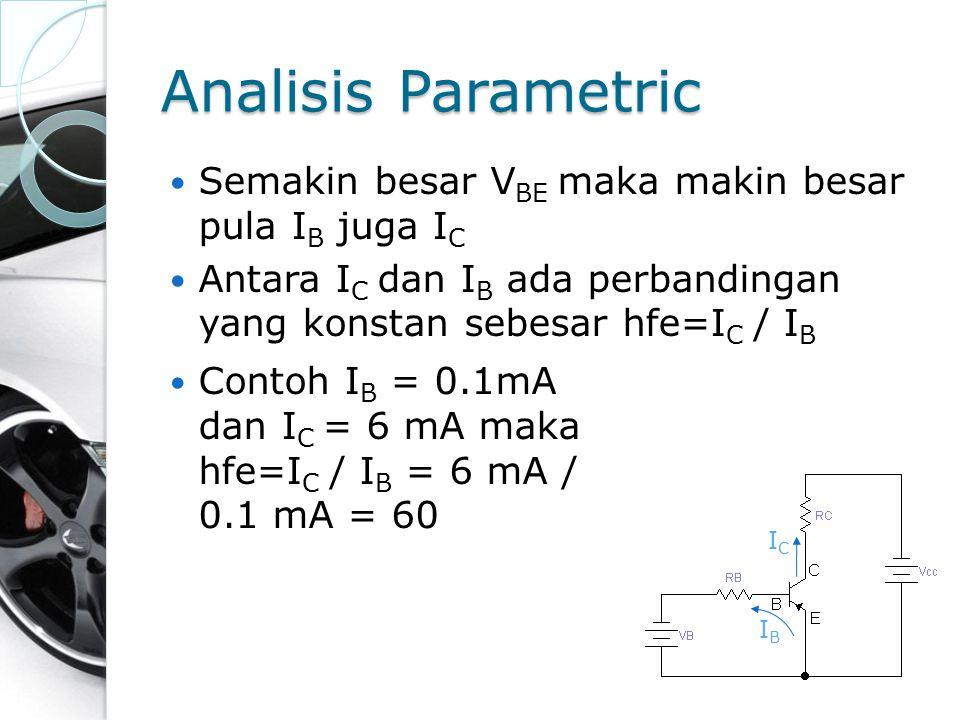 Analisis Parametric Semakin besar VBE maka makin besar pula IB juga IC
