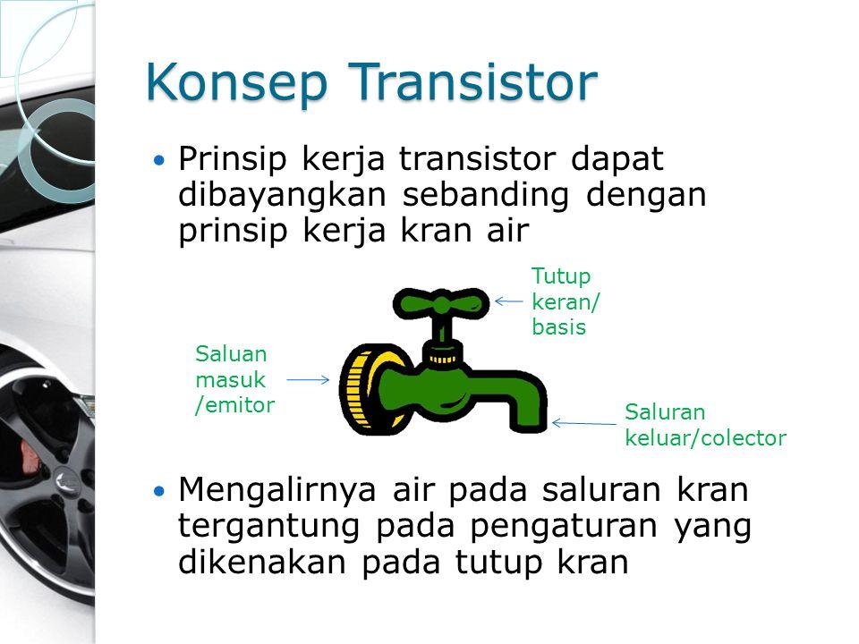Konsep Transistor Prinsip kerja transistor dapat dibayangkan sebanding dengan prinsip kerja kran air.