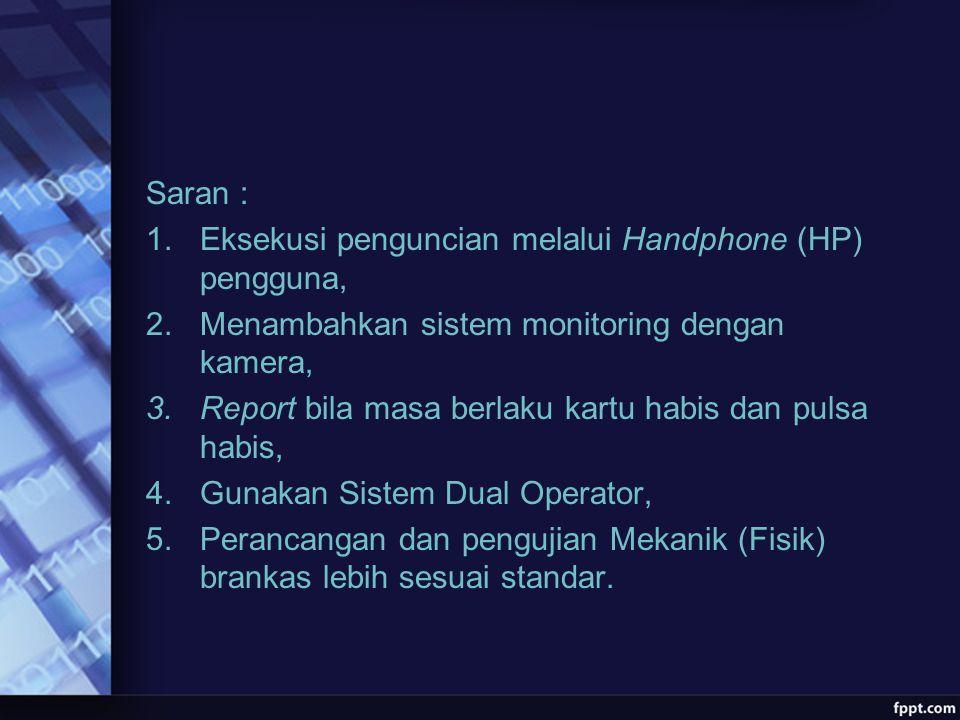 Saran : Eksekusi penguncian melalui Handphone (HP) pengguna, Menambahkan sistem monitoring dengan kamera,