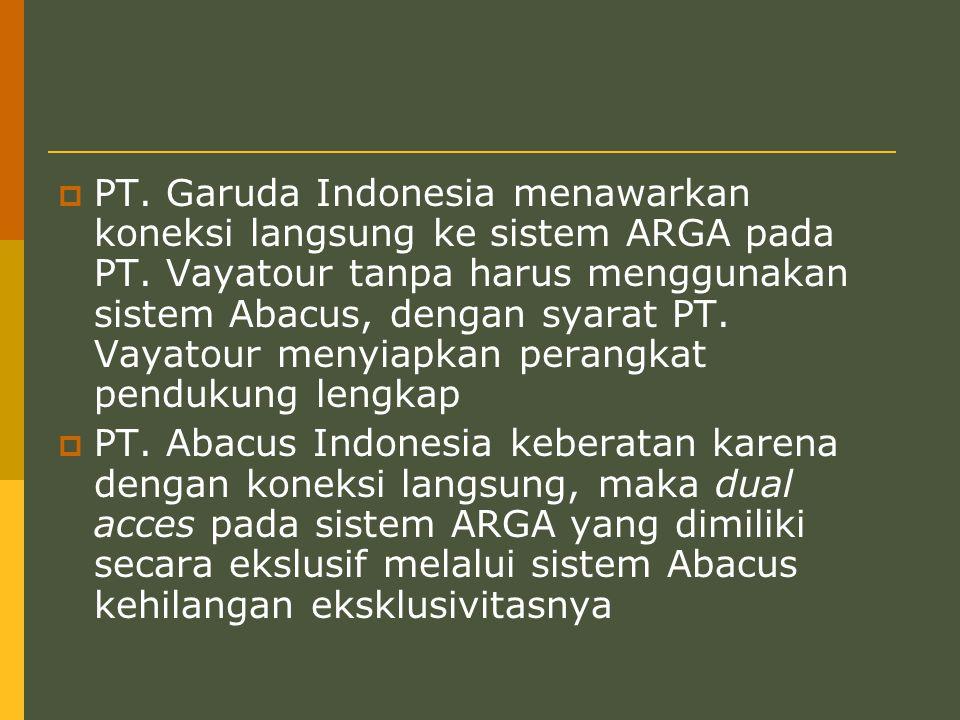 PT. Garuda Indonesia menawarkan koneksi langsung ke sistem ARGA pada PT. Vayatour tanpa harus menggunakan sistem Abacus, dengan syarat PT. Vayatour menyiapkan perangkat pendukung lengkap