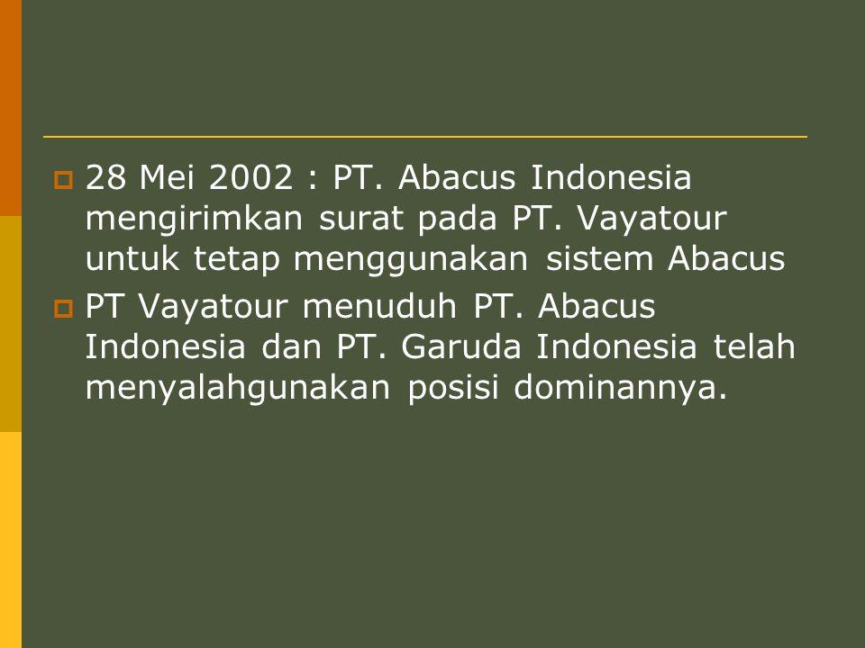 28 Mei 2002 : PT. Abacus Indonesia mengirimkan surat pada PT