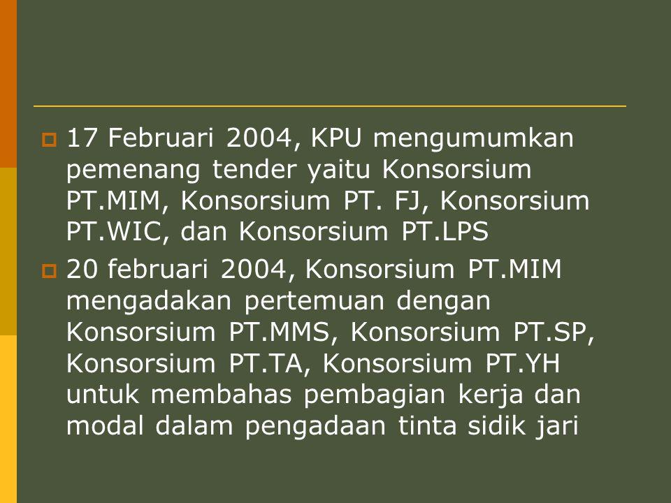 17 Februari 2004, KPU mengumumkan pemenang tender yaitu Konsorsium PT