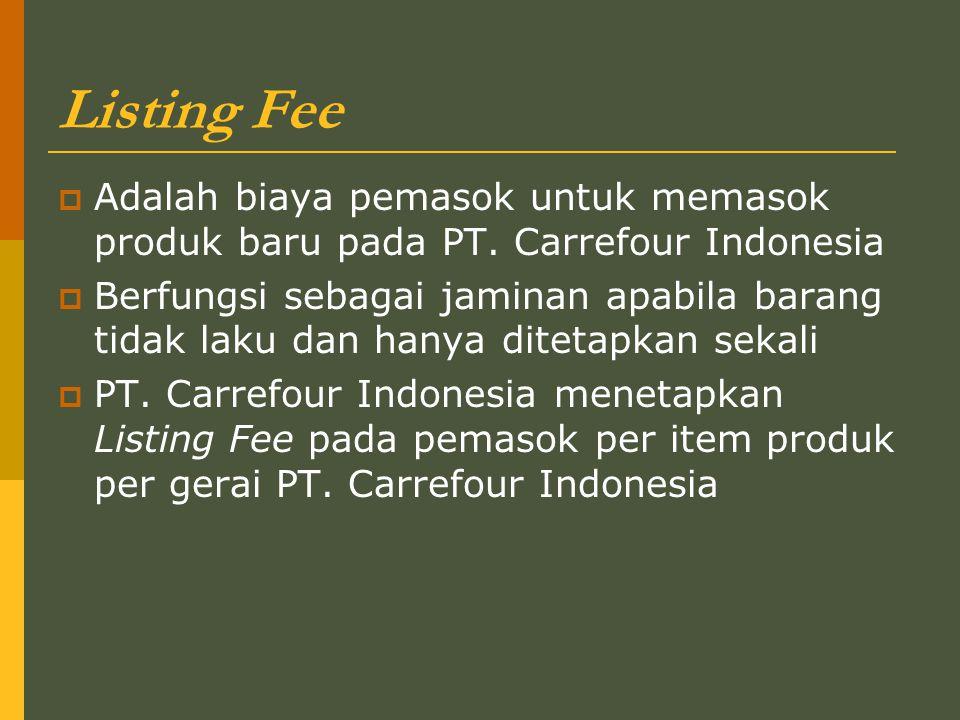 Listing Fee Adalah biaya pemasok untuk memasok produk baru pada PT. Carrefour Indonesia.
