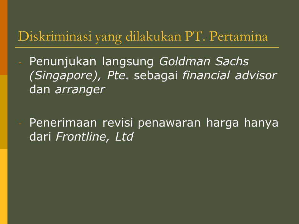 Diskriminasi yang dilakukan PT. Pertamina