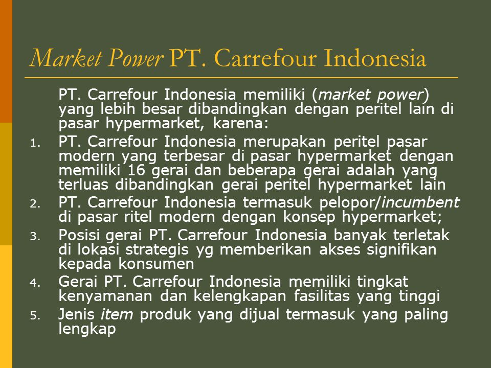 Market Power PT. Carrefour Indonesia