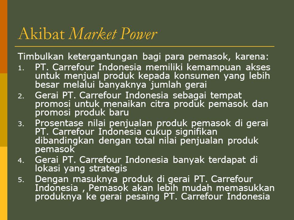 Akibat Market Power Timbulkan ketergantungan bagi para pemasok, karena: