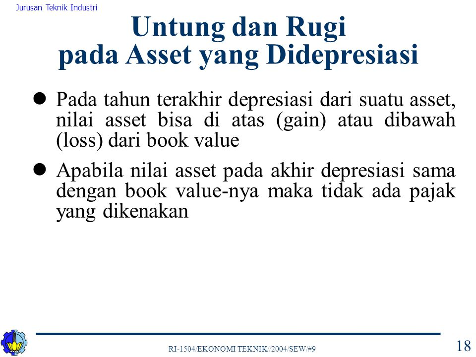 Untung dan Rugi pada Asset yang Didepresiasi