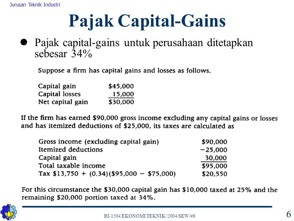 Pajak Capital-Gains Pajak capital-gains untuk perusahaan ditetapkan sebesar 34%