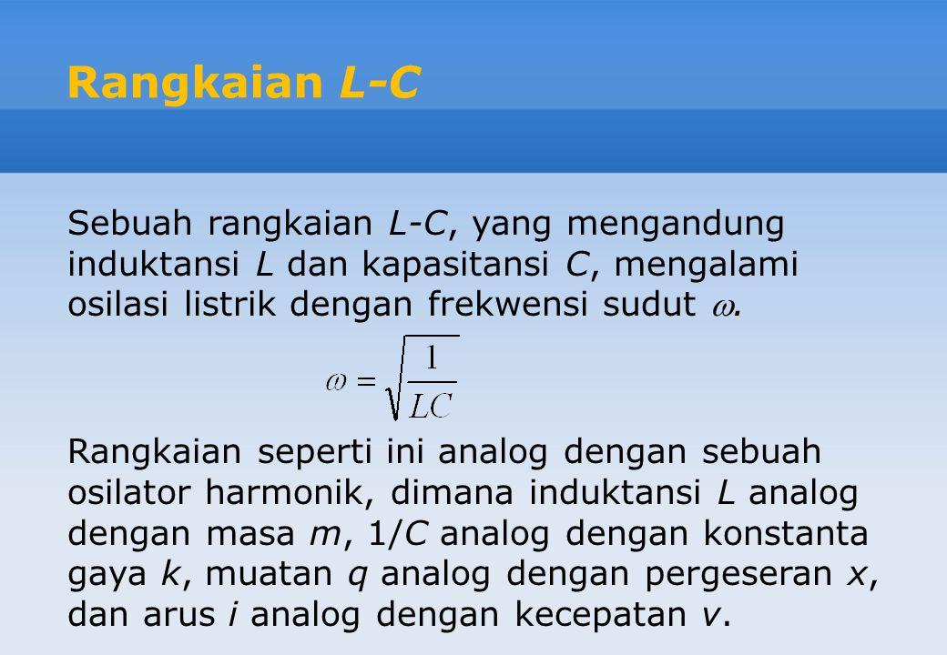 Rangkaian L-C Sebuah rangkaian L-C, yang mengandung induktansi L dan kapasitansi C, mengalami osilasi listrik dengan frekwensi sudut .