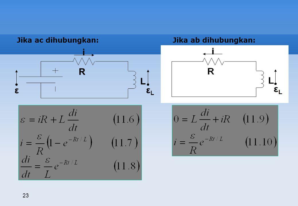 ε L R εL i Jika ac dihubungkan: Jika ab dihubungkan: 23