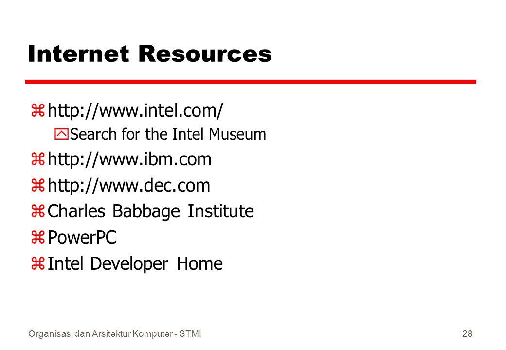 Internet Resources http://www.intel.com/ http://www.ibm.com