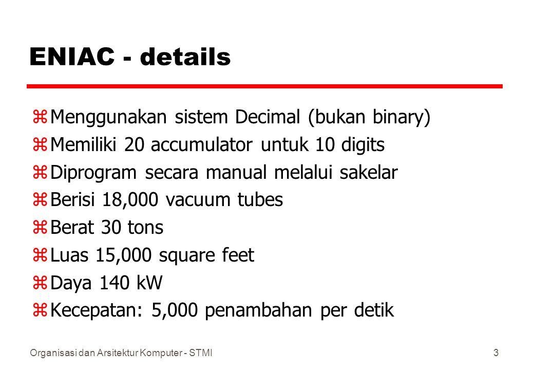 ENIAC - details Menggunakan sistem Decimal (bukan binary)