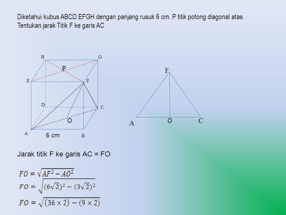 Diketahui kubus ABCD. EFGH dengan panjang rusuk 6 cm