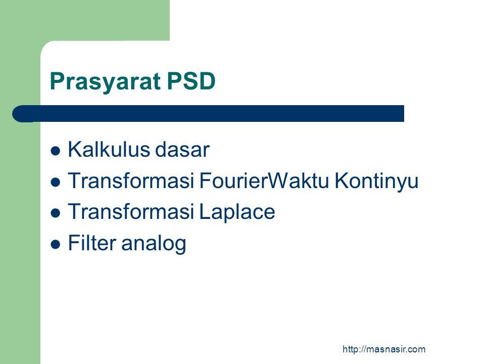 Prasyarat PSD Kalkulus dasar Transformasi FourierWaktu Kontinyu