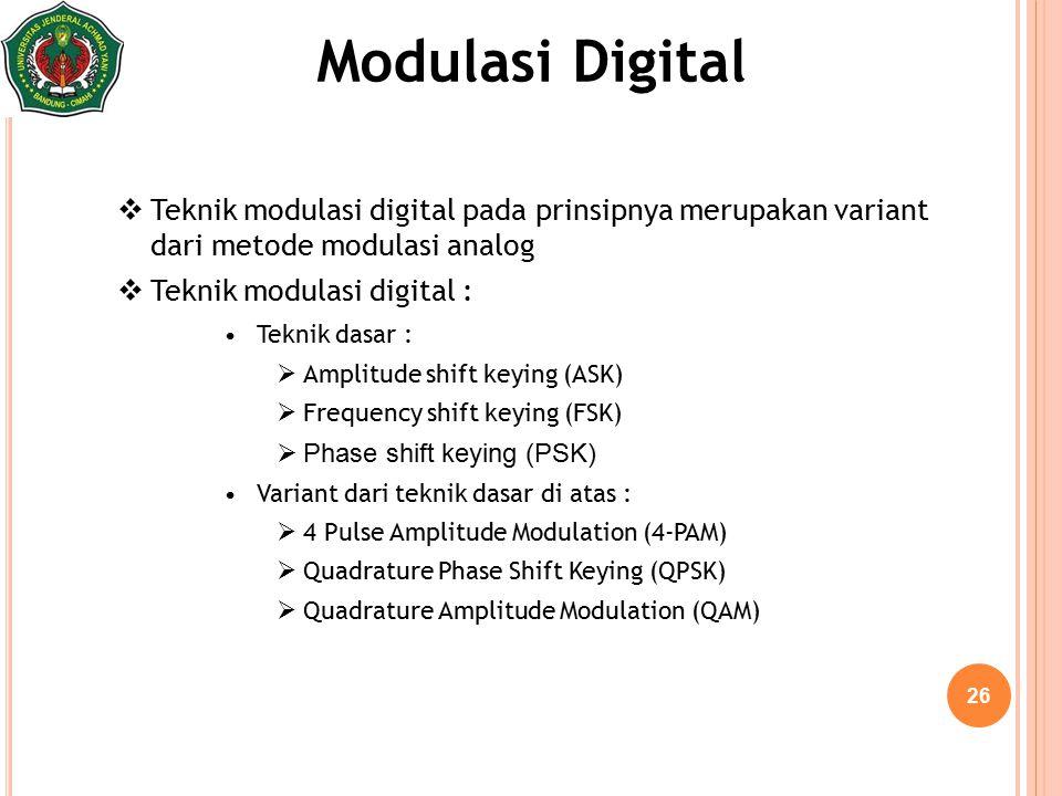 Modulasi Digital Teknik modulasi digital pada prinsipnya merupakan variant dari metode modulasi analog.