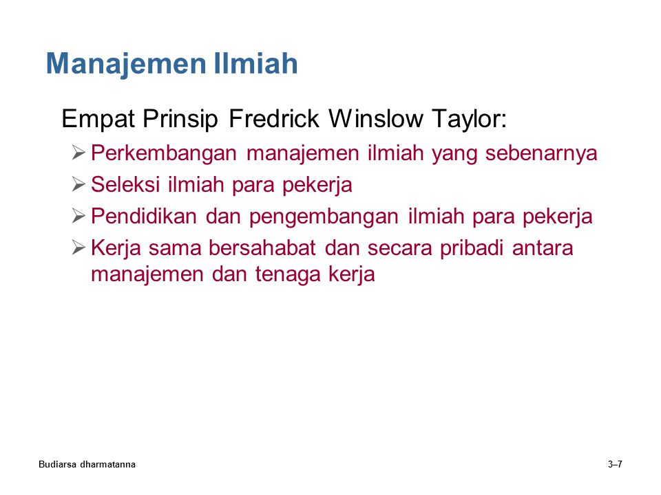 Manajemen Ilmiah Empat Prinsip Fredrick Winslow Taylor: