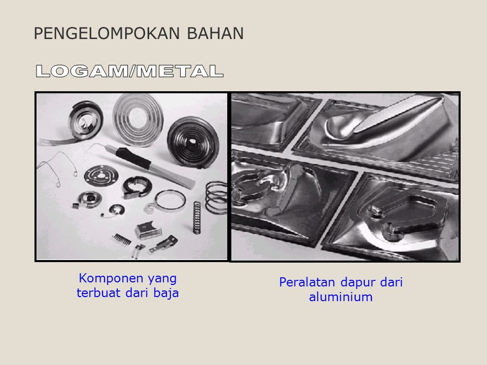 LOGAM/METAL PENGELOMPOKAN BAHAN Komponen yang terbuat dari baja