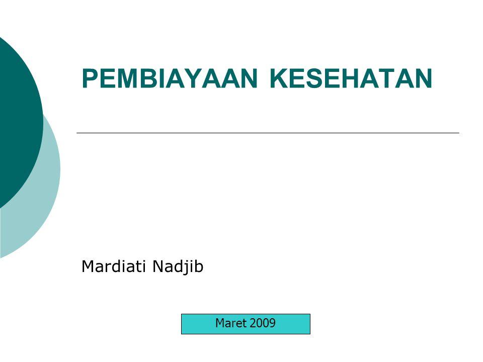 PEMBIAYAAN KESEHATAN Mardiati Nadjib Maret 2009