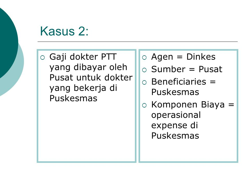 Kasus 2: Gaji dokter PTT yang dibayar oleh Pusat untuk dokter yang bekerja di Puskesmas. Agen = Dinkes.