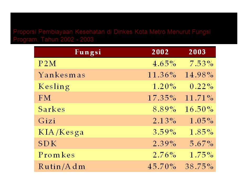 Proporsi Pembiayaan Kesehatan di Dinkes Kota Metro Menurut Fungsi Program, Tahun 2002 - 2003