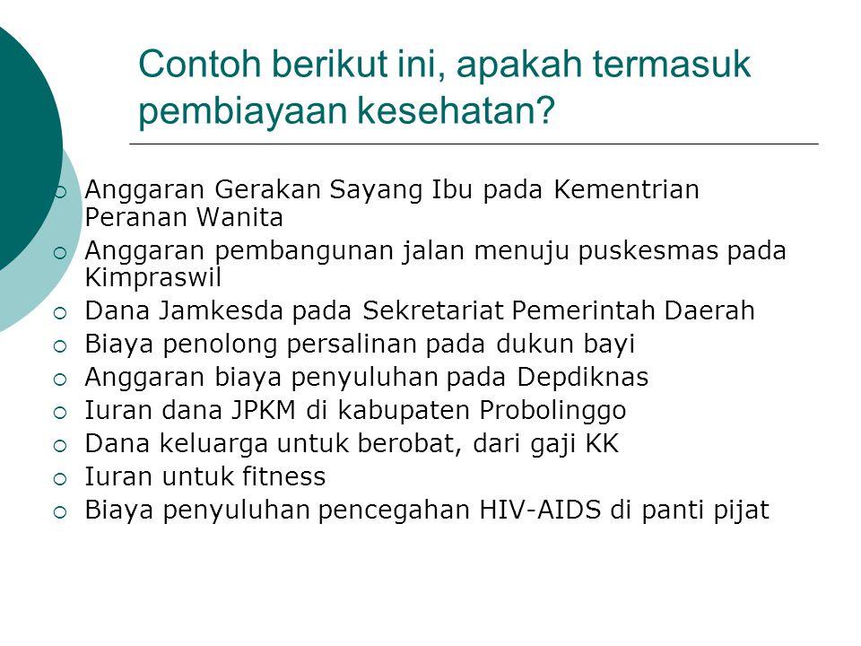 Contoh berikut ini, apakah termasuk pembiayaan kesehatan