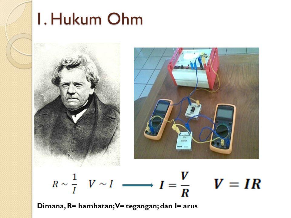 1. Hukum Ohm Dimana, R= hambatan; V= tegangan; dan I= arus