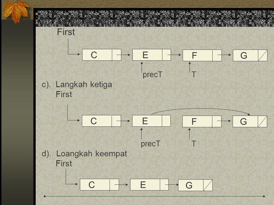 b). Langkah kedua First C E F G C E F G C E G c). Langkah ketiga