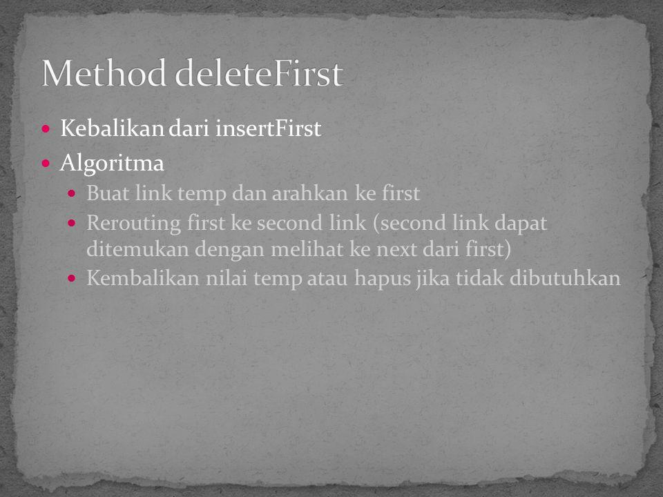 Method deleteFirst Kebalikan dari insertFirst Algoritma