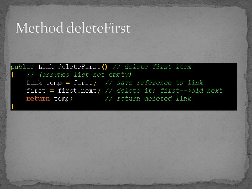 Method deleteFirst