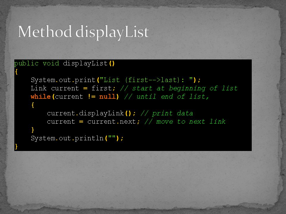 Method displayList