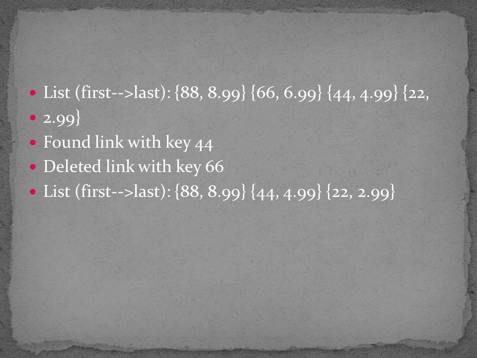 List (first-->last): {88, 8.99} {66, 6.99} {44, 4.99} {22,