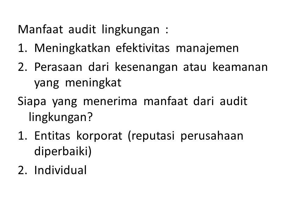 Manfaat audit lingkungan :