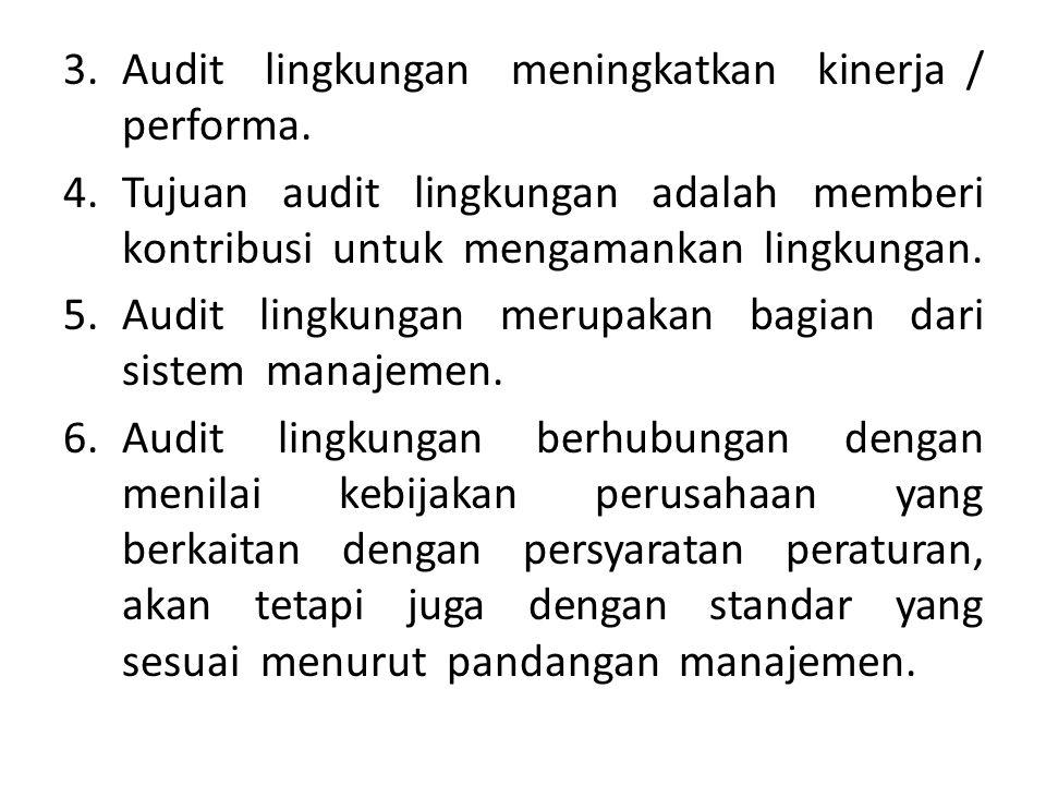 Audit lingkungan meningkatkan kinerja / performa.