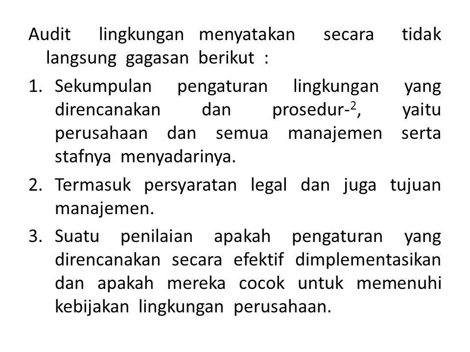 Audit lingkungan menyatakan secara tidak langsung gagasan berikut :