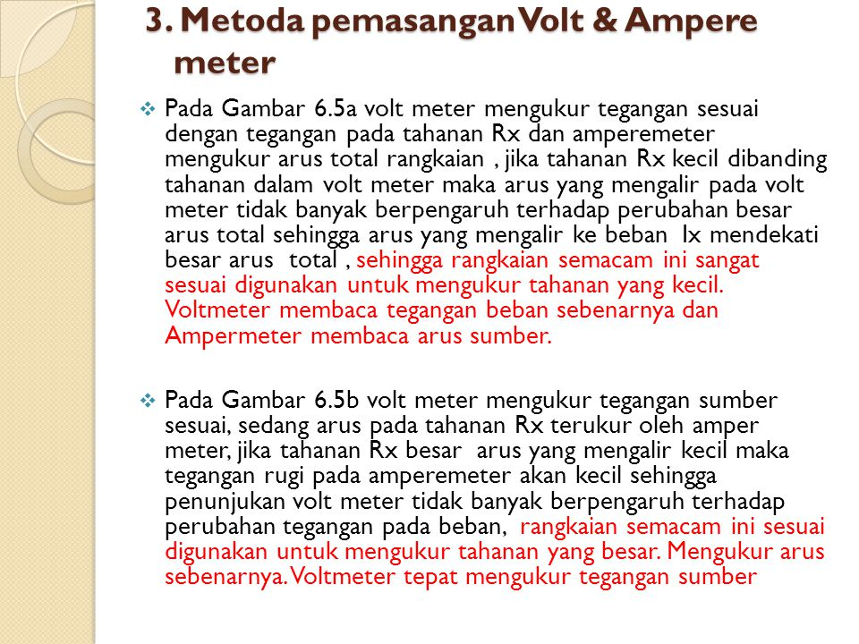 3. Metoda pemasangan Volt & Ampere meter