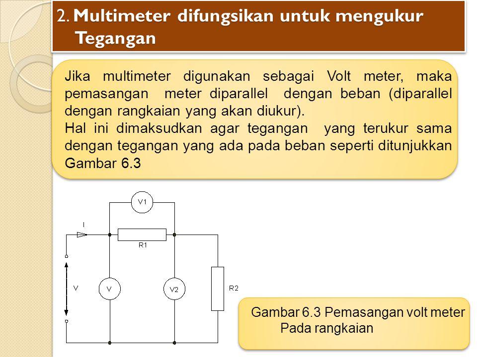 2. Multimeter difungsikan untuk mengukur Tegangan