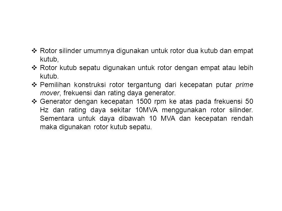 Rotor silinder umumnya digunakan untuk rotor dua kutub dan empat kutub,
