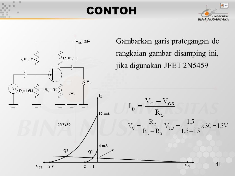 CONTOH Gambarkan garis prategangan dc rangkaian gambar disamping ini, jika digunakan JFET 2N5459. Q1.