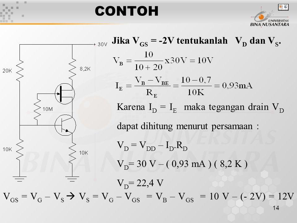 CONTOH Jika VGS = -2V tentukanlah VD dan VS.