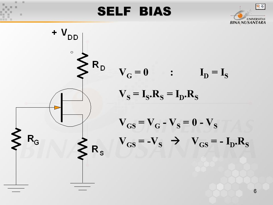 SELF BIAS VG = 0 : ID = IS VS = IS.RS = ID.RS VGS = VG - VS = 0 - VS