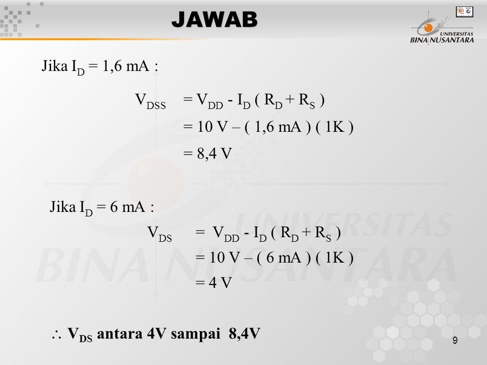 JAWAB Jika ID = 1,6 mA : VDSS = VDD - ID ( RD + RS )