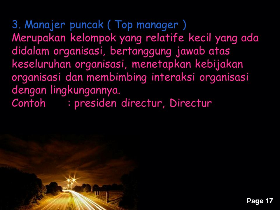 3. Manajer puncak ( Top manager )