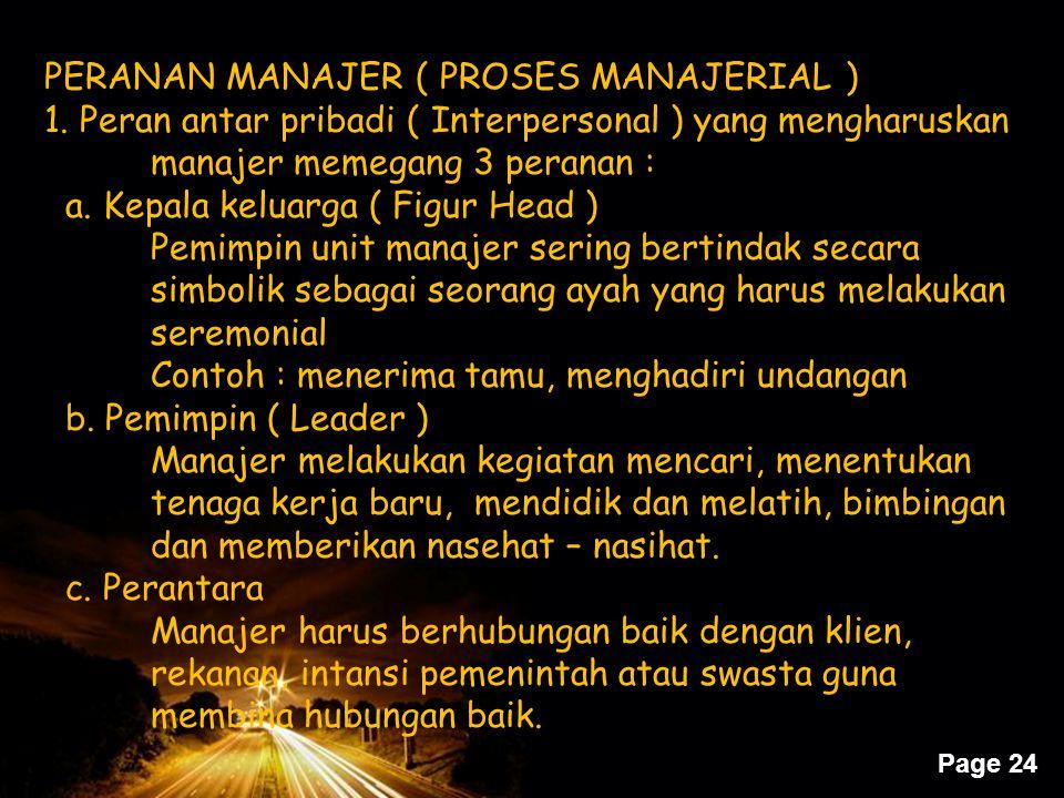 PERANAN MANAJER ( PROSES MANAJERIAL )