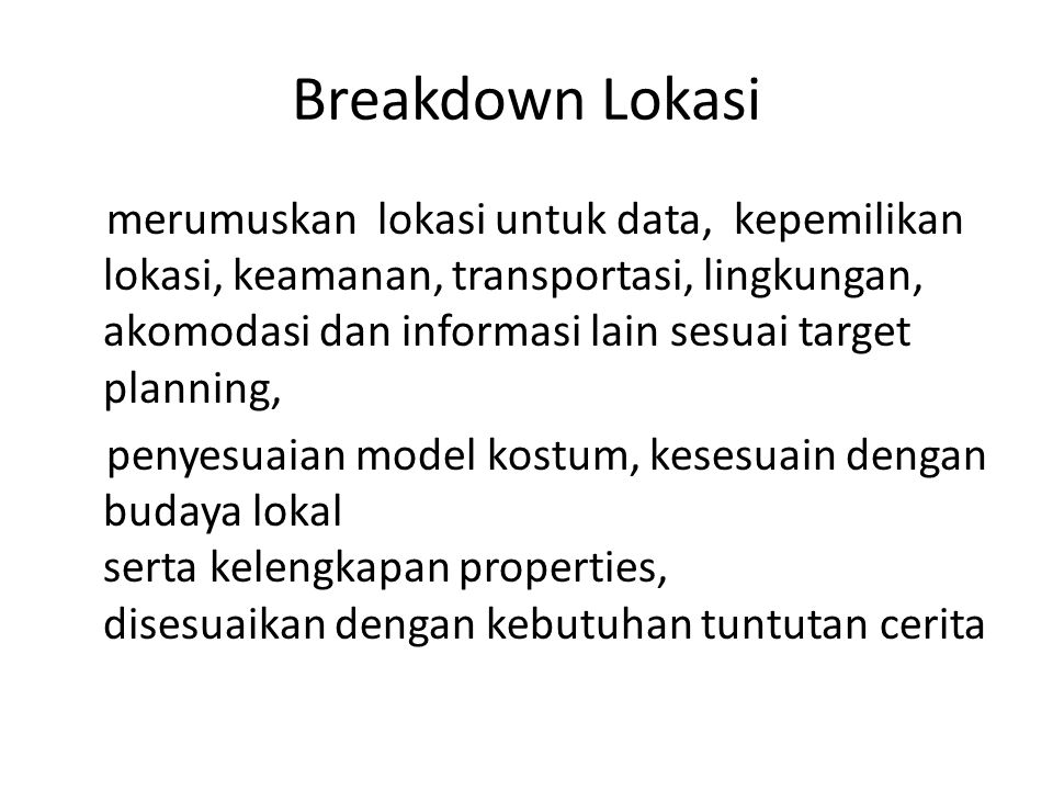 Breakdown Lokasi